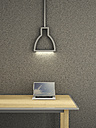 Laptop on table under lamp, 3d rendering - UWF000498