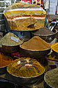 Iran, Isfahan, different curry powders at grand bazaar - FL001144