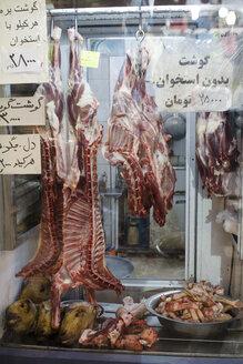 Iran, Isfahan, sheep meat at butcher at grand bazaar - FL001145