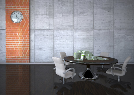 3D Illustration, Conference table with euro notes - ALF000530
