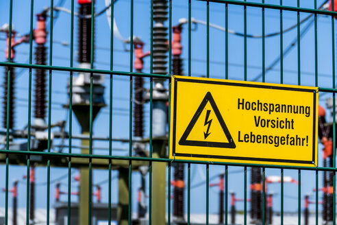 Electricity substation, warning sign, high voltage - EJWF000762