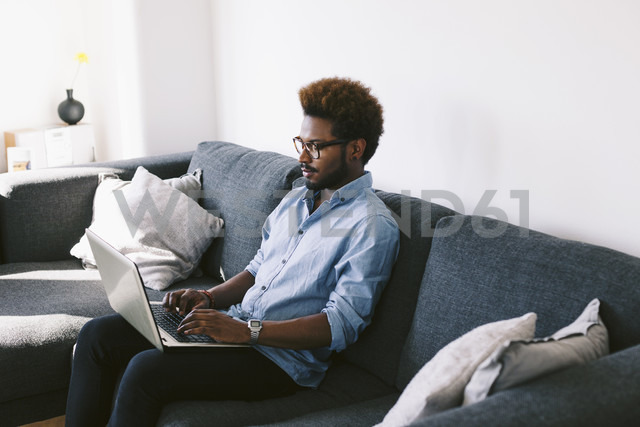 Young Afro American man sitting on couch, using laptop - EBSF000618