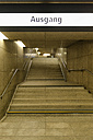 Germany, Duesseldorf, lighted exit of an underground station - VI000314