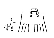 Zebra crossing for mother with child, car, black white illustration - FW000015