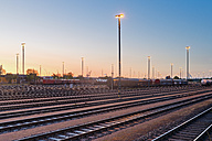 Germany, Hamburg, Railway tracks at Veddeler Damm, Port of Hamburg in the evening - MS004608