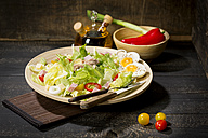 Plate of butterhead lettuce with boiled egg, spring onions, red bell pepper and tuna - MAEF010613