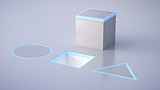 Cube on gray underground, triangle, quadrat and circle, dexterity game - UWF000511