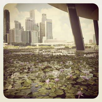 Southeast Asia, Malay Peninsula, Republic of Singapore, Singapore Downtown, Marina Bay, Skyline with Central Business District - GW004100
