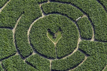 Germany, Iffeldorf, maze with heart in the center, aerial view - KLEF000001