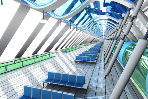 Waiting area of a futuristic airport, 3D Rendering - SPCF000045