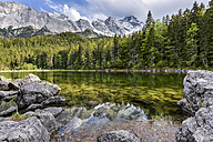 Germany, Bavaria, Grainau, Wetterstein mountains, Lake Frillensee with Zugspitze - STSF000804
