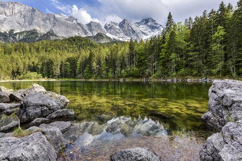 Germany, Bavaria, Grainau, Wetterstein mountains, Lake Frillensee with Zugspitze - STSF000804