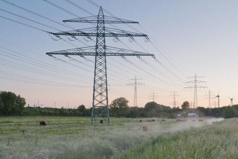 Germany, Hamburg, transmission lines in rural landscape - MSF004627