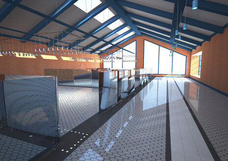 3D Illustration, Big hall with empty training rooms - ALF000543