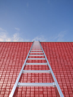 3D Rendering, ladder leaning against red wall - UWF000521