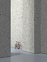 Bicycle leaning on concrete wall of a hall, 3D Rendering - UWF000523