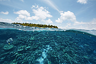 Maldives, view from the Indian Ocean to an island - STKF001297