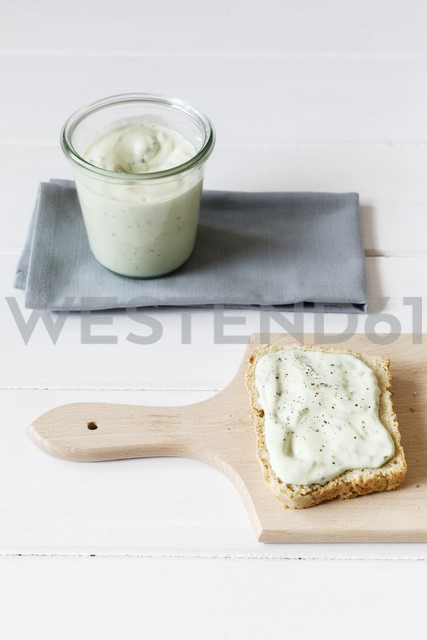 Bread slices with avocado dip, home-baked slice of bread - EVGF001767