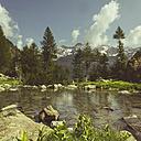 Italy, Lombardy, lake near Chiesa in Valmalenco - DWIF000523