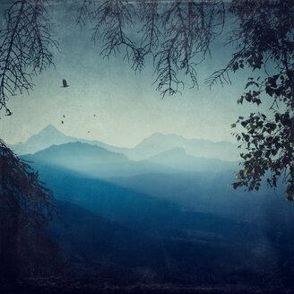 France, Lombardy, near Chiareggio, View to mountains, early-morning haze - DWIF000525