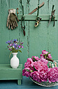 Still life with garden flowers and different gardening tools - GISF000122