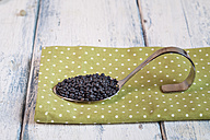 Spoon of beluga lentils on cloth - SBDF002034