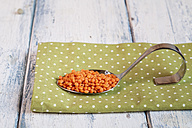 Spoon of red lentils on cloth - SBDF002037
