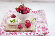 Bowl of red radishes and bowl of sour cream dip - SBDF002044