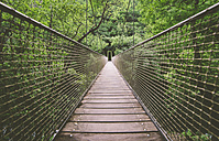 Spain, Galicia, Pontedeume, Suspension bridge in the natural park of Las Fragas Eume - RAEF000201