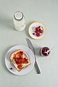 Toast with strawberry jam, jam, strawberries, milk bottle - MYF001035