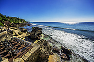 Indonesia, Bali, Jimbaran, Indian Ocean, terrace of restaurant at beach - THAF001382
