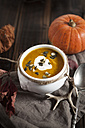 Bowl of Hokkaido-Soup with sour cream and pumpkin seed - SBDF002060