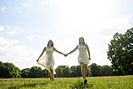 Two young women hand in hand on a meadow - BFRF001261