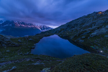 France, Mont Blanc, Lake Cheserys, mountain and lake at blue hour - LOMF000002