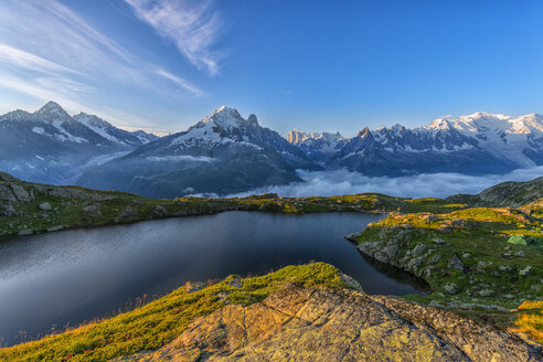 France, Mont Blanc, Lake Cheserys, mountain and lake at sunrise - LOMF000025