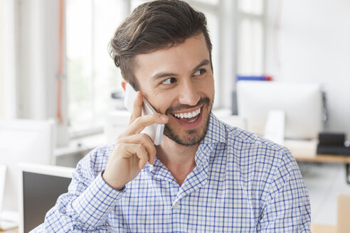 Portrait of smiling businessman telephoning in an office - JUNF000325