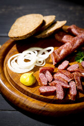Landjaeger sausage, onion rings, mustard and bread - MAEF010750