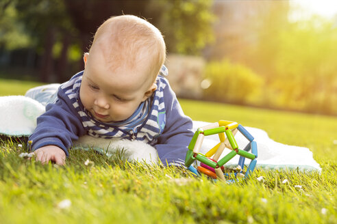 Baby boy lying on a meadow exploring the grass - TAM000135