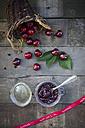 Jar of cherry jam and cherries, ribbon, handmade - LVF003538