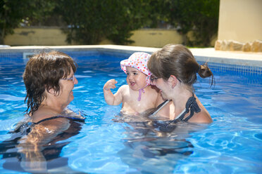 Spain, Majorca, baby girl with mother and granny in the pool - ROMF000065