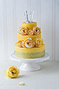 Fancy cake coated with fondant decorated with rose blossoms and little crown - MYF001052