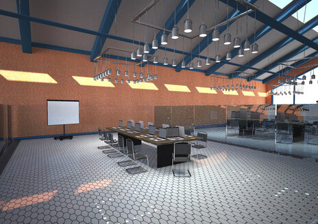 3D rendering of hall with modern training rooms - ALF000558