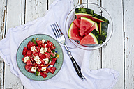 Fresh watermelon salad with feta cheese, mint and sesame - SARF001982