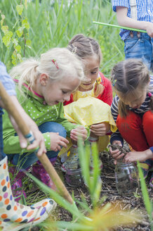 Germany, Children collecting worms in nature - MJF001531