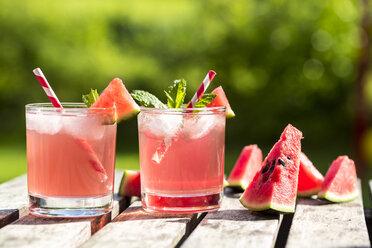 Watermelon-Hugo, Mojito in glasses with drinking straw - SARF001988