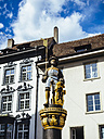 Switzerland, Schaffhausen, view to sculpture on a fountain at historic old town - KRPF001500