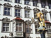 Switzerland, Schaffhausen, view to sculpture on a fountain at historic old town - KRPF001502