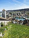 Switzerland, Schaffhausen, view to Rhine River from Munot - KRPF001505