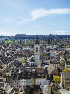 Switzerland, Schaffhausen, view to the historic old town with church spire of St John - KRPF001506