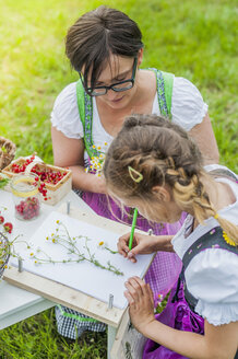 Germany, Saxony, girl wearing dirndl learning to draw plants - MJF001607